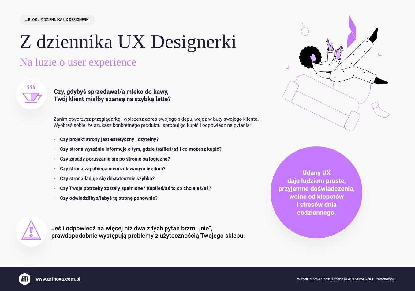 infografika: z dziennika UX designerki